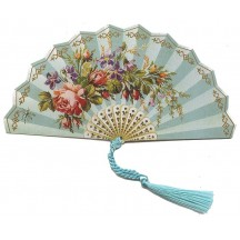 Blue Victorian Floral Fan Card ~ England