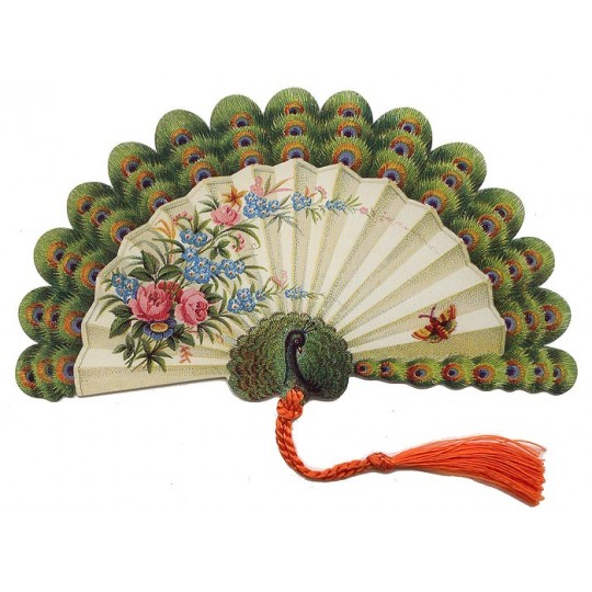 Victorian Peacock Fan Card ~ England