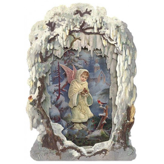 Snow Angel with Birds Winter Scene 3-D Christmas Card ~ England