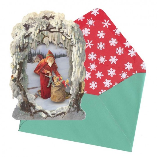 Santa And Bag Winter Scene 3 D Christmas Card England