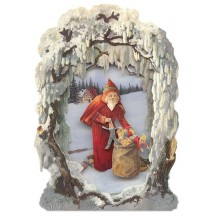 Santa and Bag Winter Scene 3-D Christmas Card ~ England