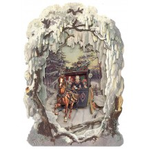 Christmas Stagecoach Winter Scene 3-D Christmas Card ~ England