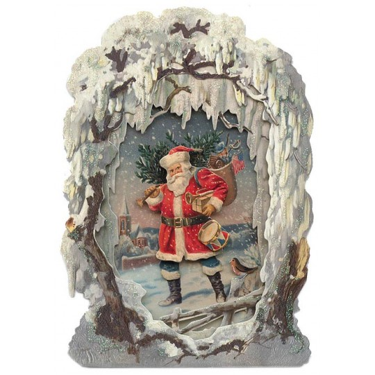 Santa with Tree Winter Scene 3-D Christmas Card ~ England