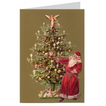 Santa Lighting Tree Candles 3-D Christmas Card ~ England