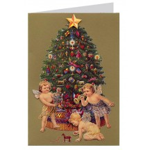 Cupids with Tree 3-D Christmas Card ~ England