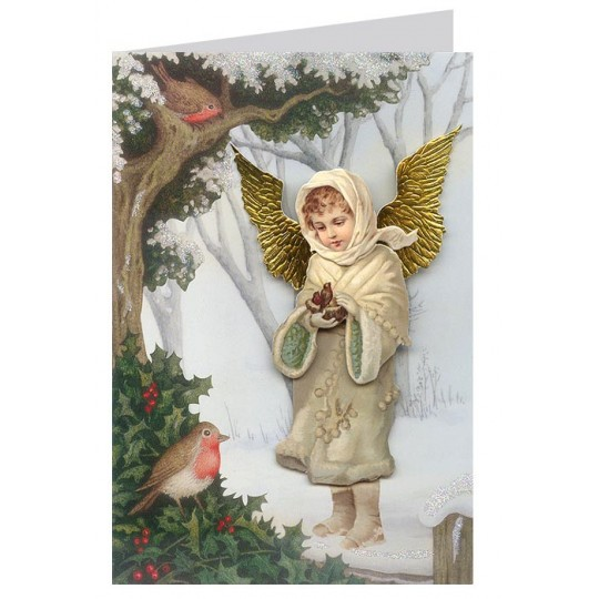 Victorian Angel with Robins 3-D Christmas Card ~ England