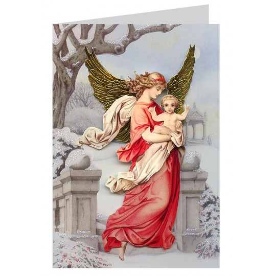 Christmas Decorations In Victorian England: Victorian Angel With Child 3-D Christmas Card