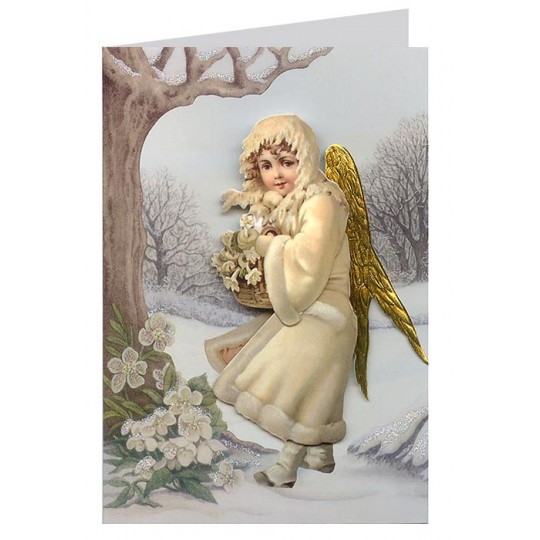 Victorian Angel with Christmas Roses 3-D Christmas Card ~ England