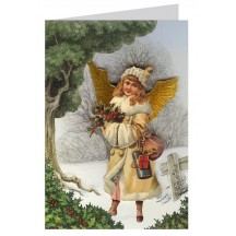 Victorian Angel with Holly 3-D Christmas Card ~ England
