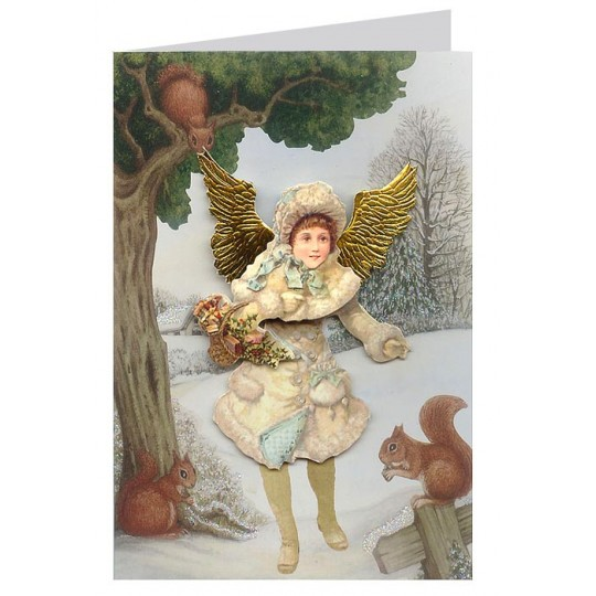 Victorian Angel with Squirrel 3-D Christmas Card ~ England