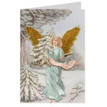 Victorian Angel with Fir Tree 3-D Christmas Card ~ England