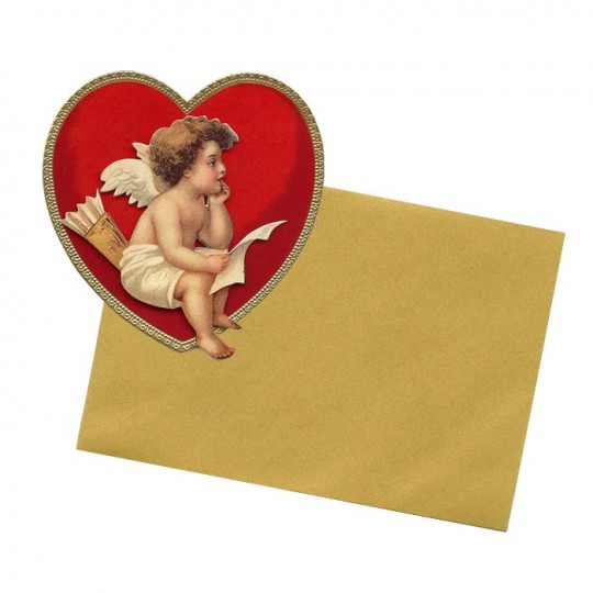 Cupid with Letter Standing 3-D Valentine Card ~ England