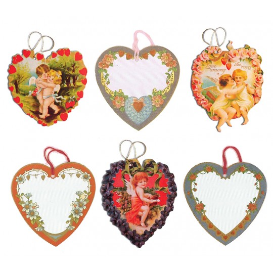 Set of 6 Extra Large Mixed Valentine Heart Gift Tags ~ England