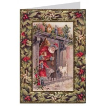 Santa with Cat, Holly and Mistletoe 3-D Christmas Card ~ England