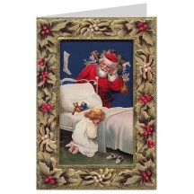 Christmas Wishes Holly and Mistletoe 3-D Christmas Card ~ England