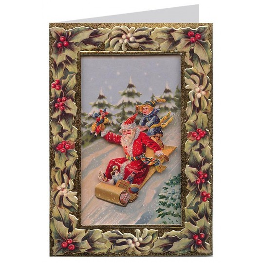 Sledding Santa, Holly and Mistletoe 3-D Christmas Card ~ England