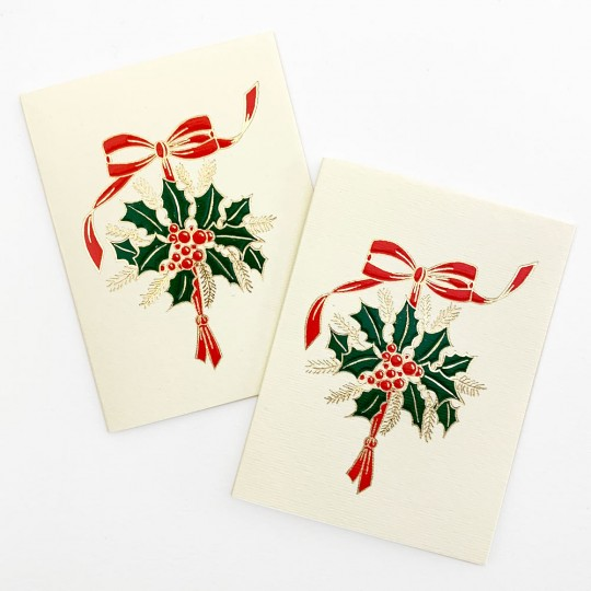 Petite Holly Bouquet Gift Cards ~ Set of 2 ~ Rossi Italy