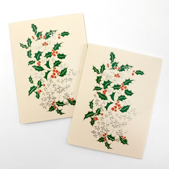 Petite Christmas Holly Gift Cards ~ Set of 2 ~ Rossi Italy