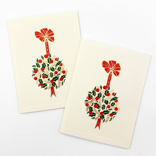 Petite Christmas Holly Ball Cards ~ Set of 2 ~ Rossi Italy