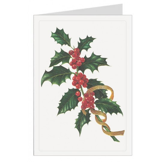 Red and Green Holly Italian Christmas Card ~ Rossi Italy