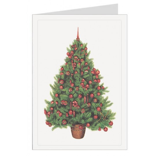 Red and Green Tree Italian Christmas Card ~ Rossi Italy