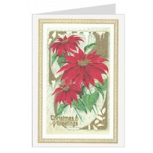Red Poinsettia Italian Christmas Card with Gold Highlights ~ Rossi Italy