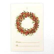 6 Retro Berry Wreath Italian Gift Tags ~ Rossi Italy