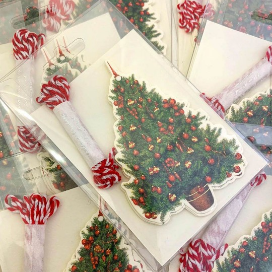 6 Red and Green Tree Italian Gift Tags ~ Rossi Italy