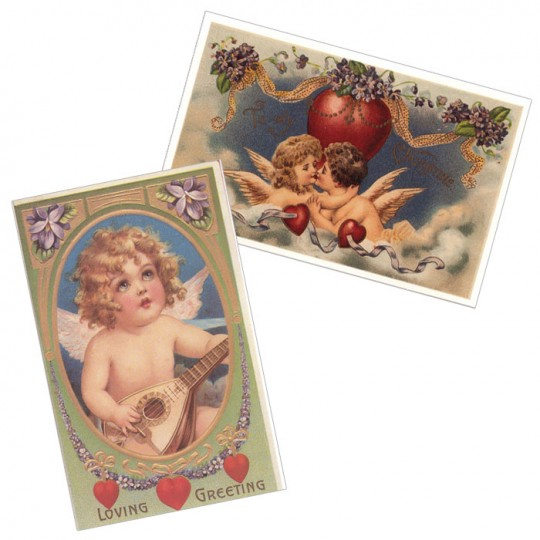 Pair of Cherub Valentine Postcards with Flower Garlands