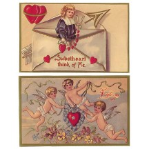 Pair of Golden Valentine Postcards with Blonde Cherubs