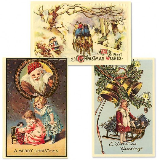 Old Fashioned Christmas Postscards with Children ~ Set of 3