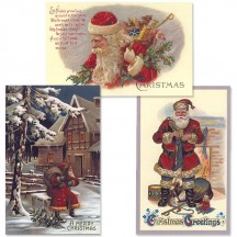 Old Fashioned Christmas Postscards with Santa ~ Set of 3