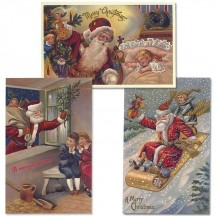 Old Fashioned Christmas Postscards with Santa and Children ~ Set of 3