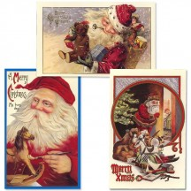 Old Fashioned Christmas Postscards with Santa and Toys ~ Set of 3