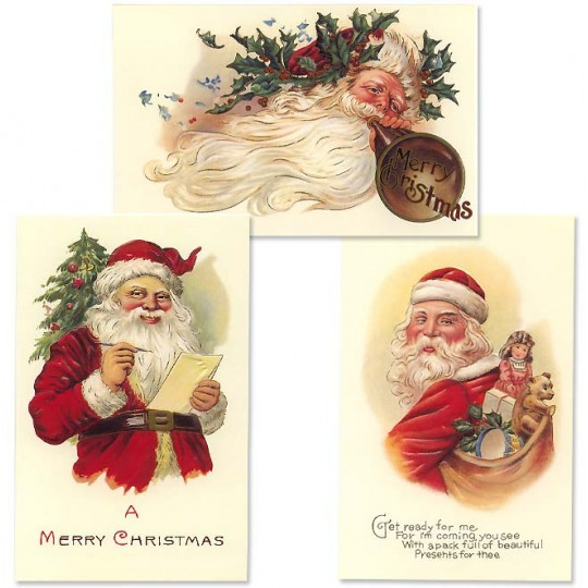 Christmas Postscards with Old Fashioned Santas ~ Set of 3