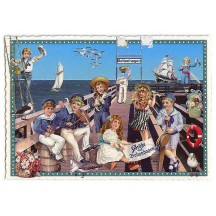Victorian Children at the Pier Large Postcard ~ Germany