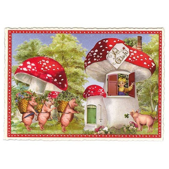 Large Lucky Mushrooms Postcard ~ Germany