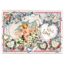 Large Cherub With Love Valentine Postcard ~ Germany
