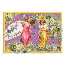 Large Lotus Flower Fairies Postcard ~ Germany