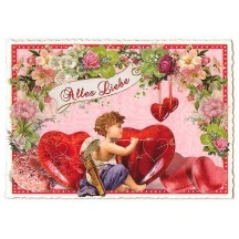 Large Cherub with Hearts Valentine Postcard ~ Germany