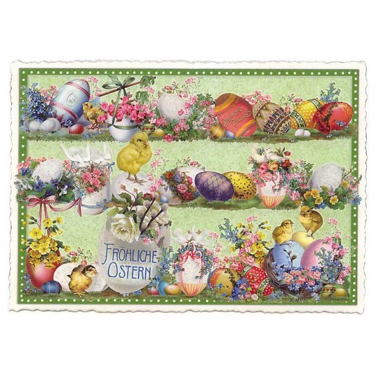 Large Green Chicks and Eggs Easter Postcard ~ Germany