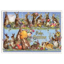 Large Blue Bunnies and Eggs Easter Postcard ~ Germany