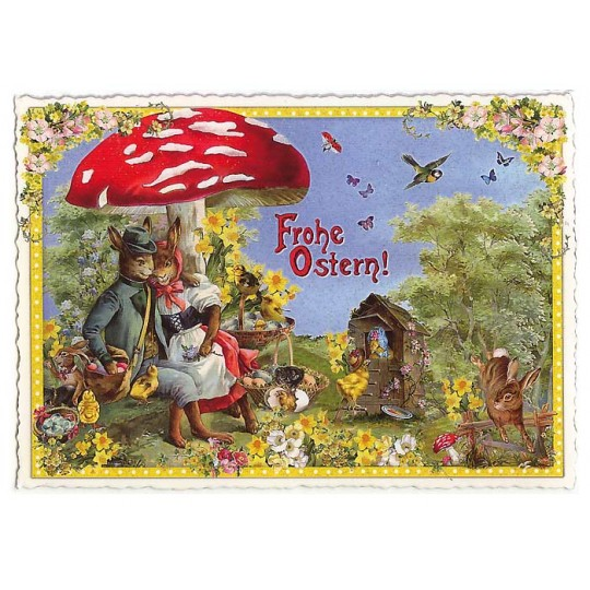 Large Bunnies Under Mushroom Easter Postcard ~ Germany