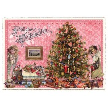 Pink Christmas Tree Large Postcard ~ Germany