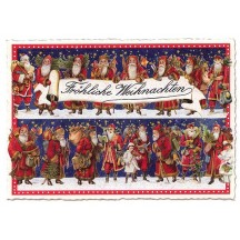 Red Santas Large Christmas Postcard ~ Germany
