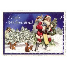 Santa with Sled Large Postcard ~ Germany