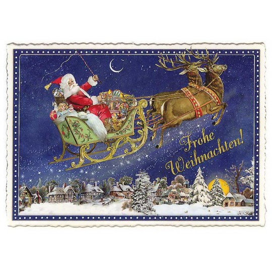 Santa's Sleigh Large Postcard ~ Germany