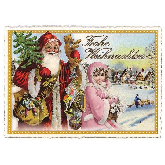Santa and Snow Angel Large Postcard ~ Germany