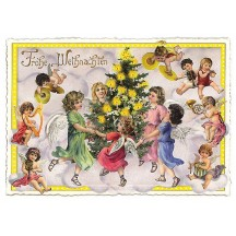 Musical Angels with Christmas Tree Large Postcard ~ Germany