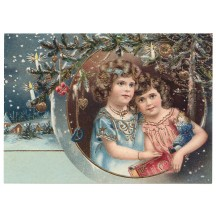 Victorian Girls in Frame XL Embossed Christmas Postcard ~ Germany